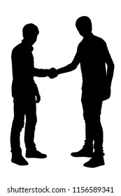 Two teens friends hand shake silhouette vector