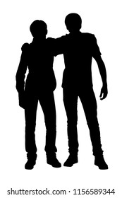 Two teens friends standing near silhouette vector