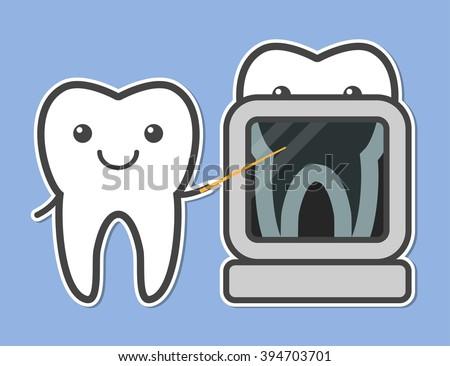 Two Teeth Demonstrated Xray Dental Vector Vector de stock (libre de ...