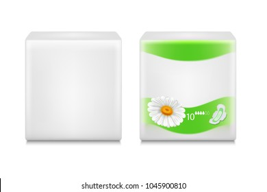 Two template plastic packages for sanitary napkins.
