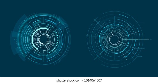 Two templates of bright interface geometric banner vector illustration with lot of shapes, different lines, squares and dots isolated on dark backdrop