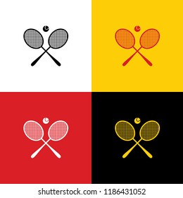 Two tennis racket with ball sign. Vector. Icons of german flag on corresponding colors as background.