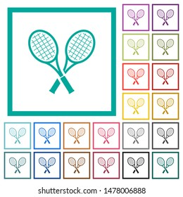 Two tennis rackets flat color icons with quadrant frames on white background