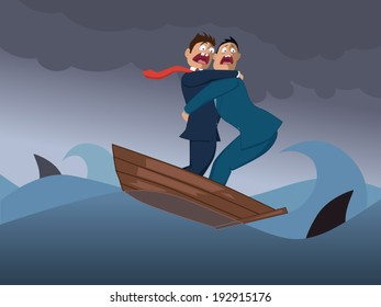 Two terrified businessmen in one boat crossing a stormy sea with sharks