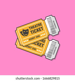 Two Theatre Tickets Vector Icon Illustration. Ticket For Entrance To The Event
