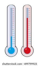 Two thermometers with different measured temperature. Illustration of thermometers isolated on white background with cold and warm temperature.