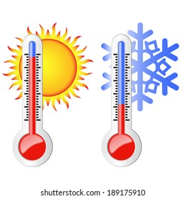 Two thermometers, high and low temperature. Symbolize the heat and cold. Sun and snowflake.