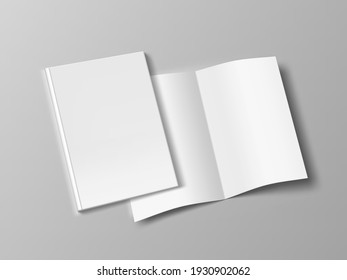 Two Thin Books Open And Close With Soft Cover. EPS10 Vector