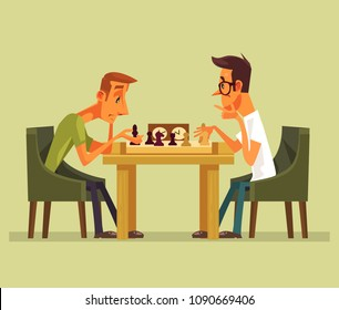 Two thinking smart players man characters playing chess. Strategy game checkmate isolated cartoon vector illustration element