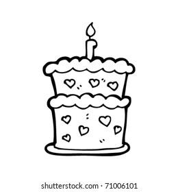 two tier birthday cake cartoon