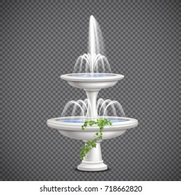 Two tier white cascade water fountain with climbing ivy plant realistic image on transparent background vector illustration
