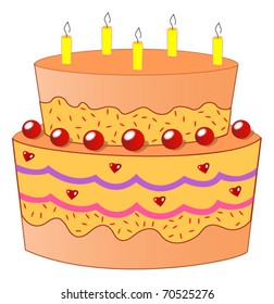 A Two Tiered Orange Birthday Cake with Five Candles