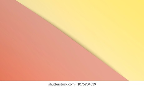 Two tone background with empty overlap gradient fields. Bright vector widescreen wallpaper. Diagonal splitting of the screen with a shadow. Soft warm yellow and pink tones. Abstract material design.