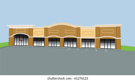 two tone beige strip mall on sloped lot
