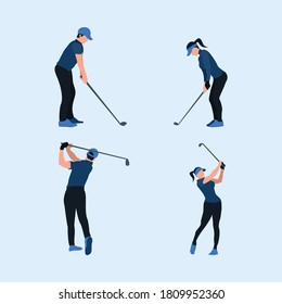 two tone flat illustrations set - playing a golf - a man and woman swing golf stick