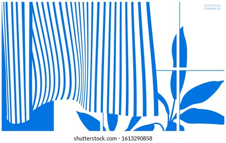 Two tone minimal background of breeze - wind blows curtains and tropical plants outside summer windows