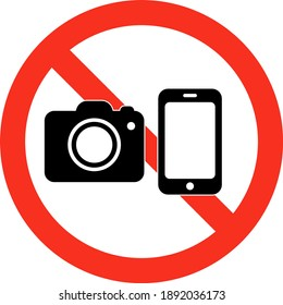 two tone photography camera usage prohibition sign on white background