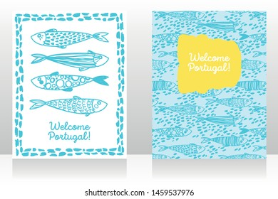 Two touristic banners for welcome Portugal with cute doodle sardines, yellow and light blue colors, sketch style vector illustration