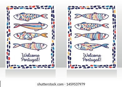 Two touristic banners for welcome Portugal with cute doodle sardines, sketch style vector illustration