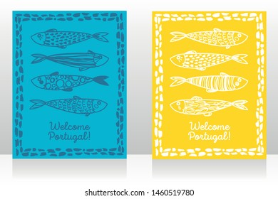 Two touristic banners for welcome Portugal with cute doodle sardines, blue and yellow, sketch style vector illustration
