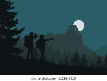 Two tourists go to castle ruins, green forest between mountains and hills, under night sky with moon - vector