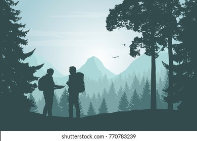 Two tourists walking through a mountain landscape with a forest looking for a path in the map under a winter sky with dawn - vector