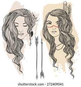 Two touyng and beautiful hippie girls. Vector hand drawn illustration