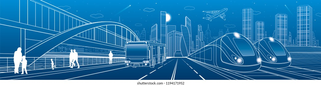 Two trains travel by rail. Bus rides on city highway. Modern night town. Urban scene. People walking at street. White lines on blue background. Vector design art