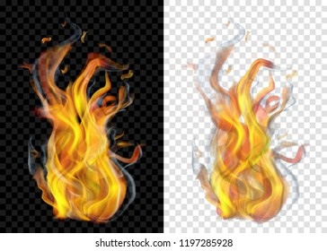 Two translucent burning campfires with smoke on transparent background. For used on light and dark backdrops. Transparency only in vector format