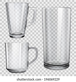 Two translucent cups and one glass for juice