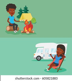 Two travel banners with space for text. Vector flat design. Horizontal layout. African-american woman sitting near campfire. Woman roasting marshmallow over campfire. Tourist relaxing near campfire.