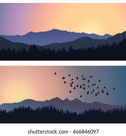Two travel landscapes with silhouettes of mountains and forest at sunrise. Vector illustration