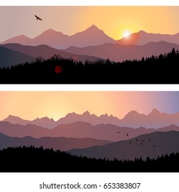 Two travel landscapes with silhouettes of mountains and forest at sunrise. Vector illustration of beautiful places of untouched nature. Scene from national park, natural reserve, wildlife sanctuary.
