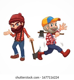 two tree cutters with axe