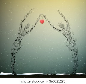 two tree silhouettes like a man and woman holding red heart in snowing weather, Valentine`s day plant decoration, nature icon concept, people like plant, marriage idea surrealism,