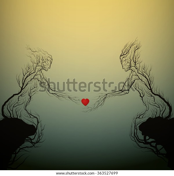 two tree silhouettes like a man and woman holding red heart and growing on the opposite rock, Valentine`s day plant decoration, love forever, people like plant, vector
