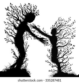 two tree silhouettes look like man and woman with stretching arm to each other, plant surrealism,  fairy tree silhouettes two tree souls on white background, vector.