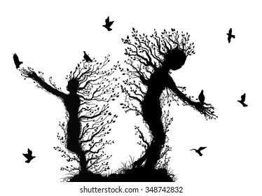 two tree silhouettes look like man stretching arm to flying bird, plant surrealism,  fairy tree silhouettes two tree souls on white background, vector.