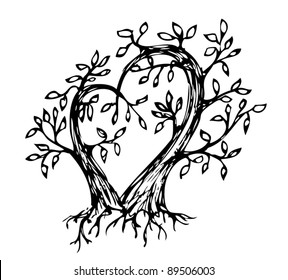 two trees forming a heart