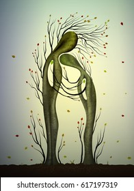 Two trees in love looks like man and woman, tree hug, family concept, getting older together, autumn tree feelings, fairy forest  tree characters, vector