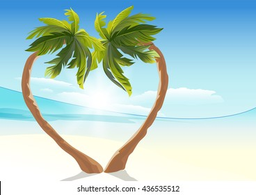 Two tropical palm curved into heart shape. Illustration