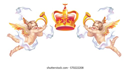 Two trumpeting cherub in horns and a crown on a white background