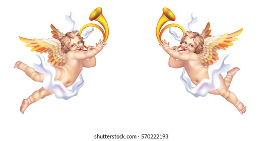 Two trumpeting cherub in the horns on a white background