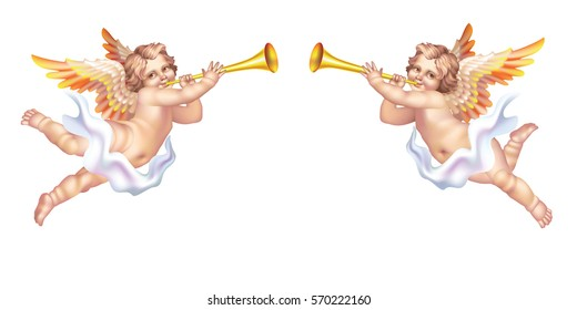 Two trumpeting cherub in the pipe on a white background