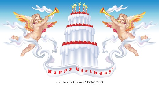 Two trumpeting cherubs with a birthday cake