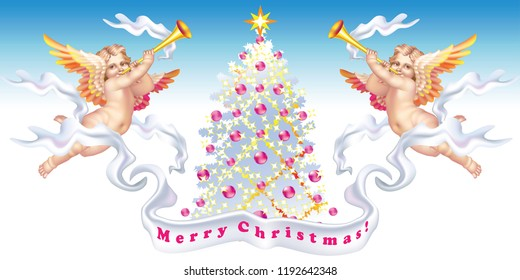 Two trumpeting cherubs with a Christmas tree
