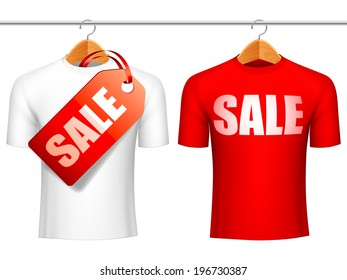 Two t-shirts with sale announcement. Sale concept.