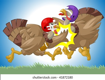 Two turkeys playing football.