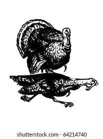 Two Turkeys - Retro Clipart Illustration