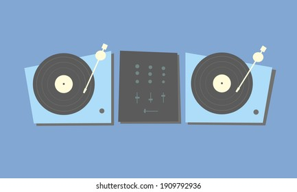 Two turntables for DJs with vinyl records and a mixer. Party DJ equipment. Playing music. Scratch. Mix. Vinil player. Dance floor. Club. Vector illustration. Musical poster, banner or background.